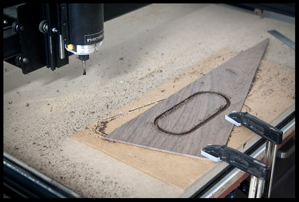 Carving the electronics cavity cover on the cnc