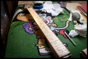 Oiling the fretboard