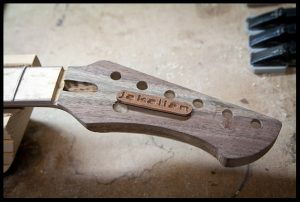 Preparing the headstock inlay