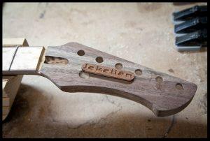Preparing the headstock inlay