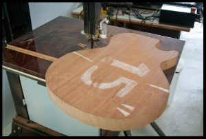 The LP shape is rough cut on the bandsaw