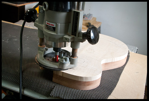 Using a flush trim template following router bit