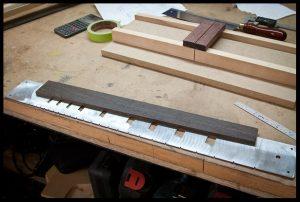Preparing to cut fret slots