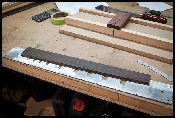 Preparing to cut fret slots