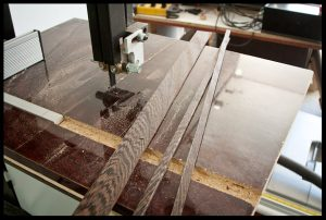 Cutting stripes of wenge for binding