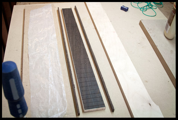 The maple is veneer is glued on are the wenge is next