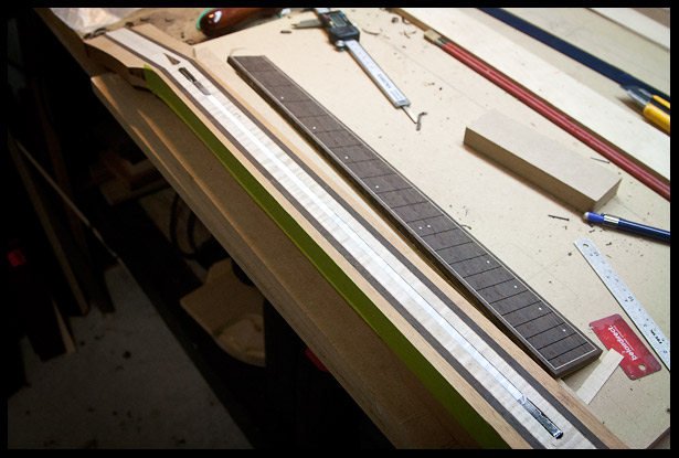 Truss rod in installed and fretboard ready to be glued on