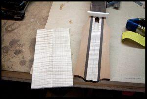 The headstock veneer ready to be glued