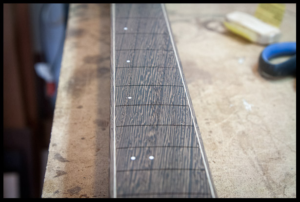 Wenge fretboard sanded without oil